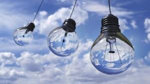 light bulbs against blue sky