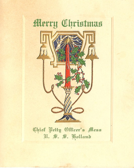 Cover - 1935 Christmas Dinner Menu Chief's Mess USS Holland (AS-3). From the collection of Jim Dolbow