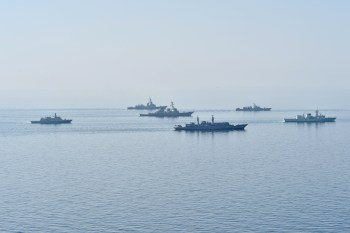 Ships from various countries steam in formation during Sea Breeze 2014. Sea Breeze is a multinational maritime exercise with naval forces participants from Ukraine, Georgia, Romania, Turkey, Latvia, and the U.S. (U.S. Navy Photo by Mass Communication Specialist 2nd Class John Herman).