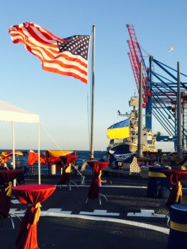USS Donald Cook (DDG-75) is moored near Ukraine ship Hetman Sahaydachny (U-130) in Odessa for a reception during Sea Breeze 2015. (Personal photo by Vice Adm. James Foggo).
