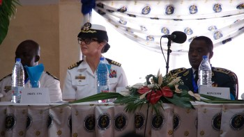 Commodore Heidi Agle at OE/SE 2016 ceremony in Douala, Cameroon. (U.S. Army Photo by Staff Sgt. Lea Anne Cuatt).