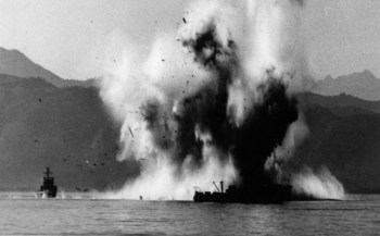 USS YMS-516 is blown up by a magnetic mine, during sweeping operations west of Kalma Pando, Wonsan harbor, on 18 October 1950. National archives photo