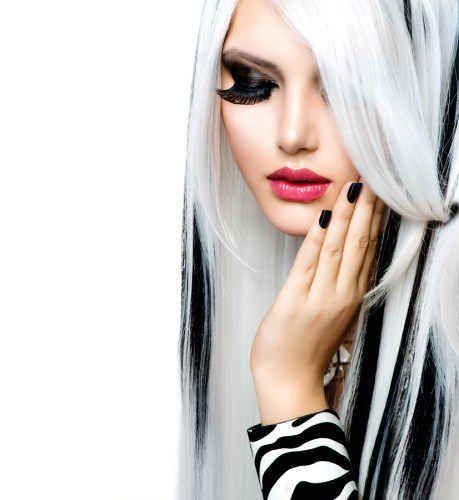 Beauty Fashion Girl black and white style. Long White Hair with
