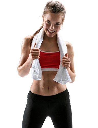 Fitness woman sweating. Beautiful sport girl with towel and sweat looking at camera tired exhausted and sweaty after gym exercise / photo set of sporty muscular female brunette girl wearing sports clothes over white background