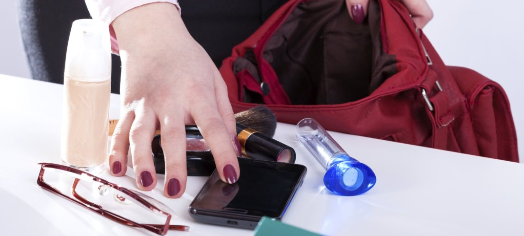 purse with contents spilled out