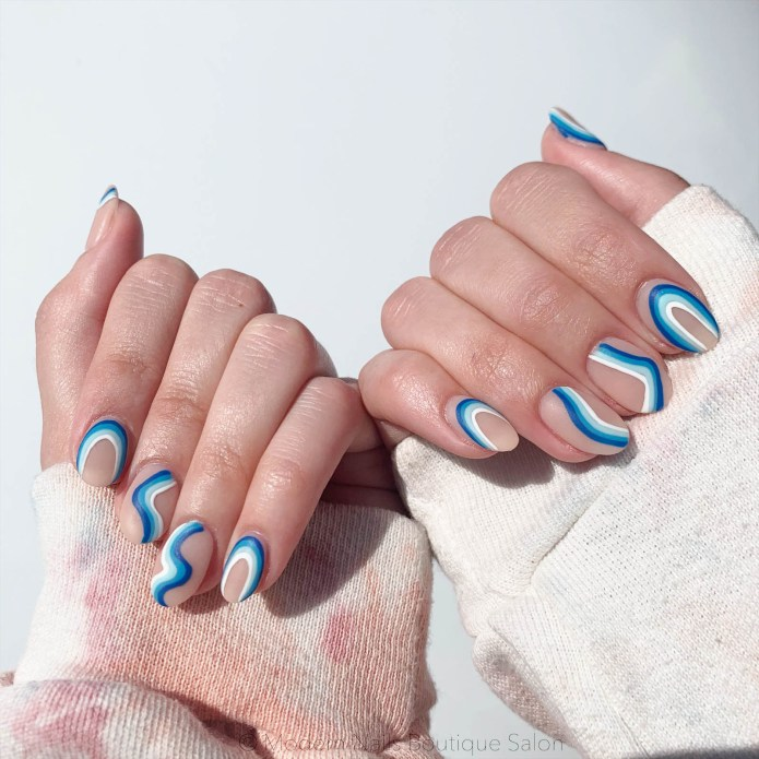 image of blue nail art