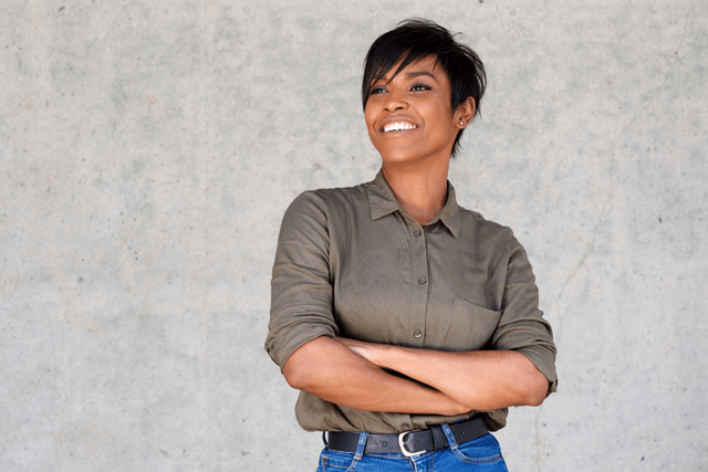 a woman with a short hairstyle