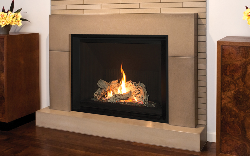 1400 H6 Engine with Driftwood Fuel Bed, 1425FBL Fluted Black Liner and 1430FFK 1 inch Fixed Framing Kit
