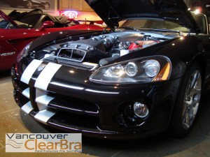 Vancouver-ClearBra-2010-Dodge-Viper-SRT10-black-red-convertible-hardtop-VentureShield-Paint-Protection-Film-finished-bumper