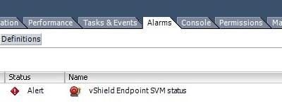 vShield Endpoint SVM status vCenter alarm