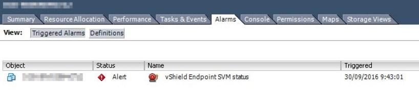 vShield Endpoint SVM status alarm