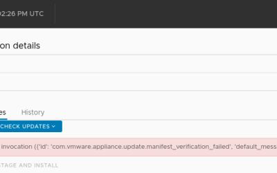 VCSA 7 U1 available updates error