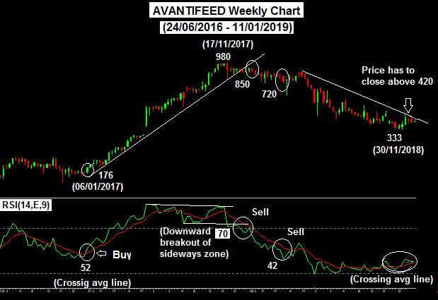 Avantifeed weekly chart from June 2016 to January 2019