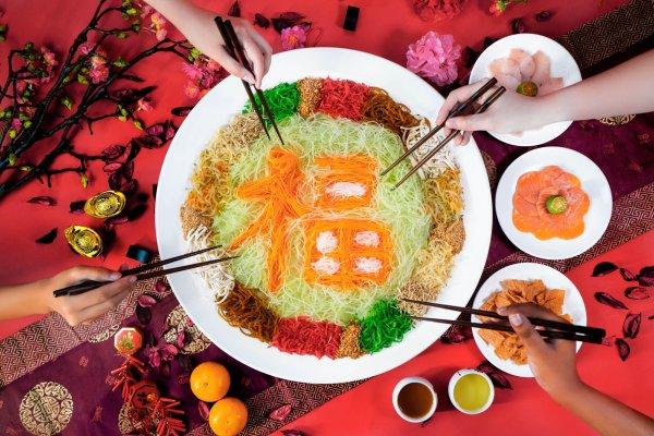 yu sheng with good fortune garnish by yan
