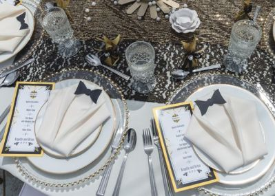 Tuxedo table setup for boy baby shower party