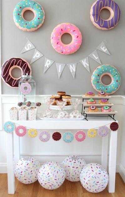 dessert table doughnut theme for baby shower