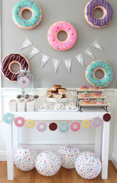 dessert table doughnut theme for baby shower
