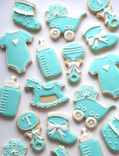 turquoise cookie idea for baby shower