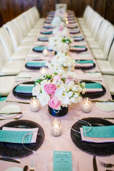 Turquoise decoration for bridal shower party
