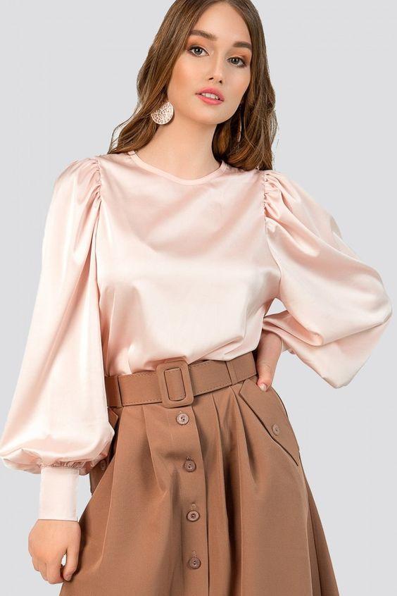 Silk blouse with a round neckline
