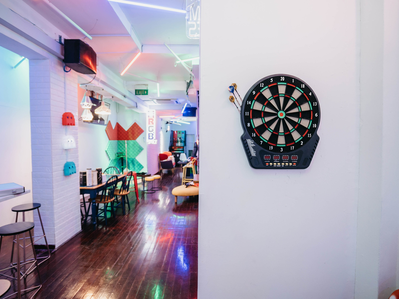 magnetic dart board and stage with microphone