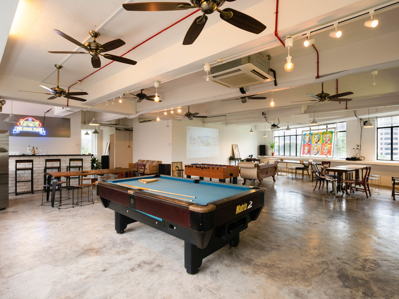 venue with pool table and other games