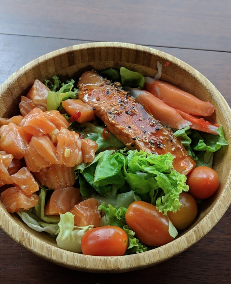 healthy salmon bowl with vegetables