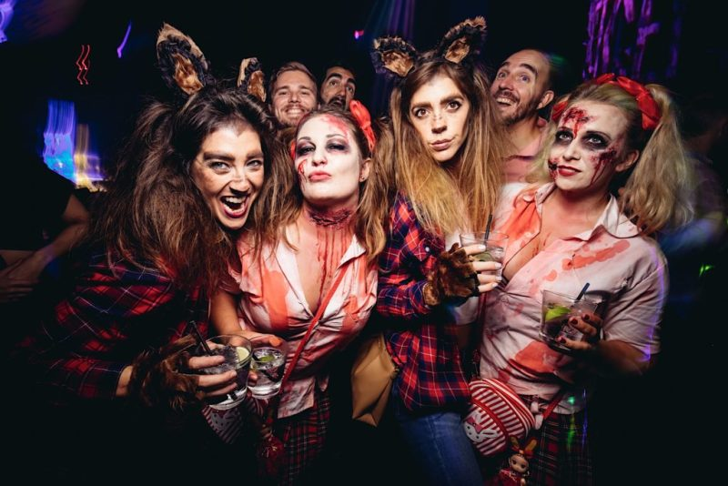 boys and girls celebrate halloween party together