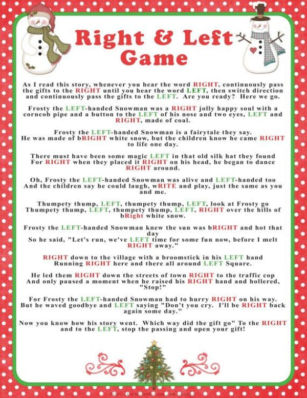right and left christmas party games for exchange gift idea