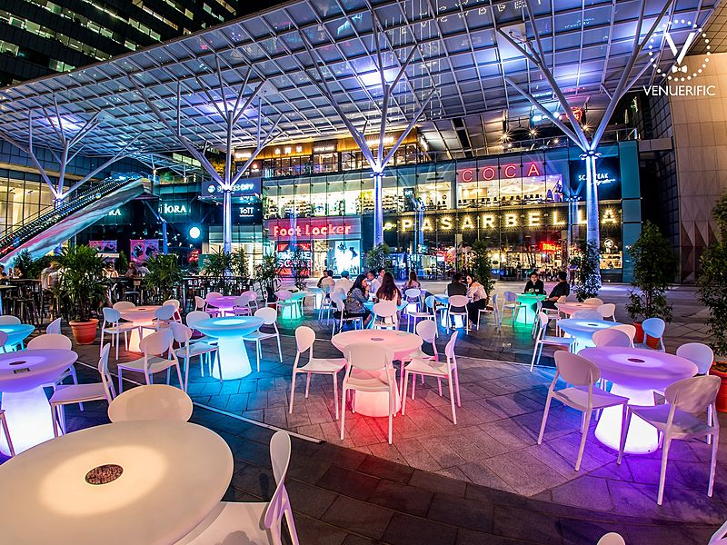 pretty, outdoor, lit-up event space