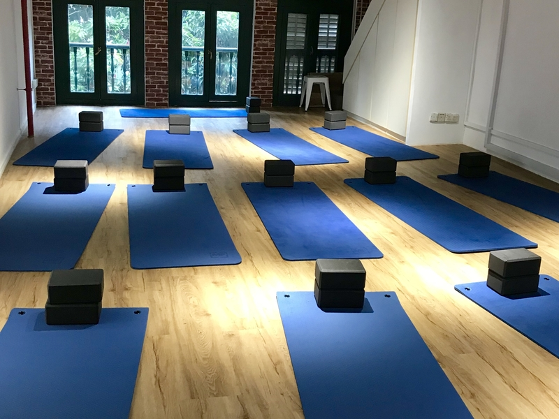 yoga session in a cozy loft