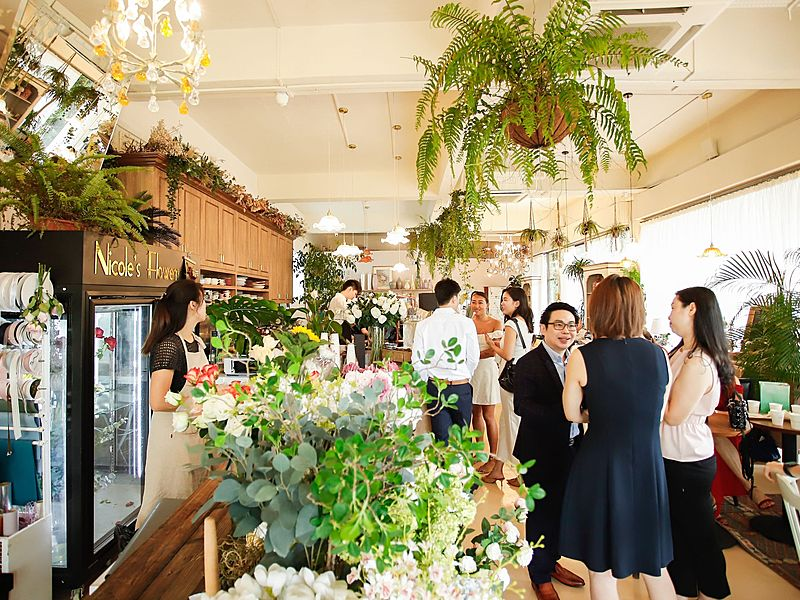 lively cafe with tasty floral teas and drinks