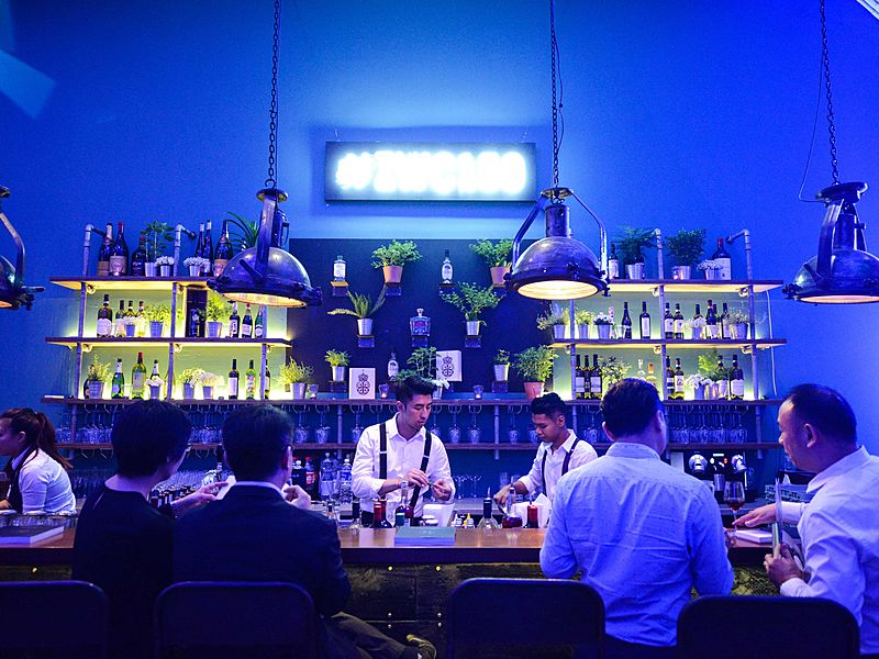 bar with mood lighting in Cargo 39