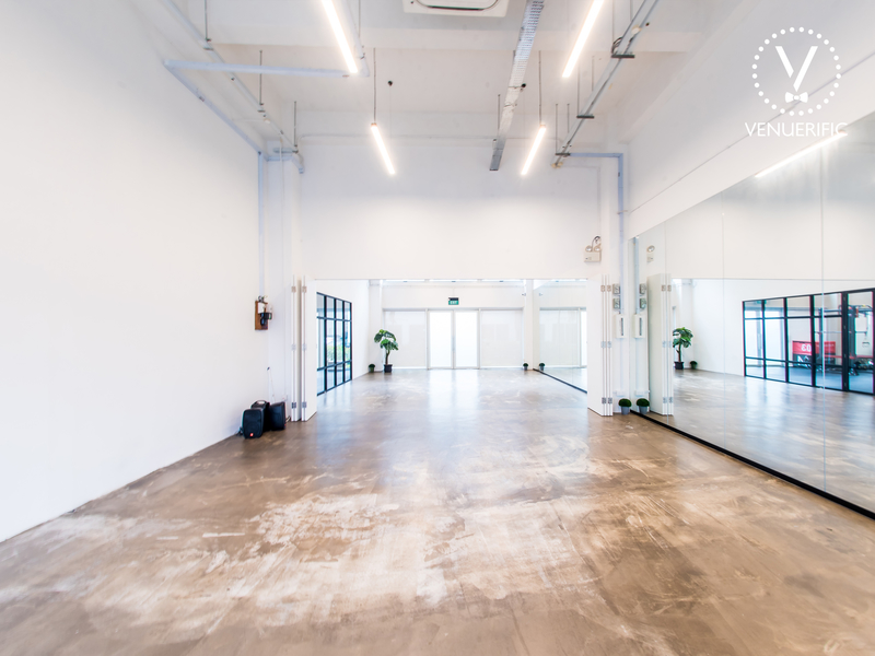 spacious event space with mirror