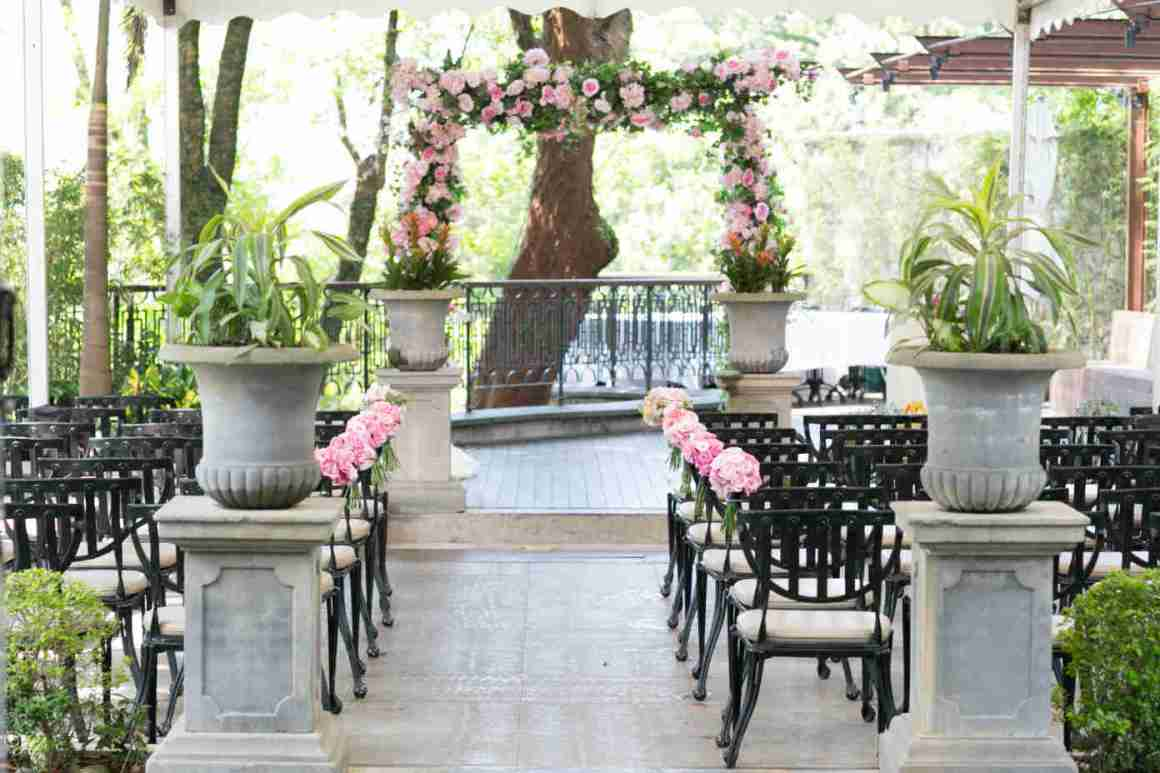 floral decorations for a wedding at the hillside