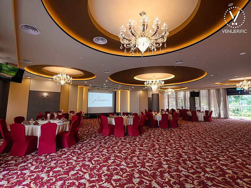 large wedding ballroom in singapore with red interior