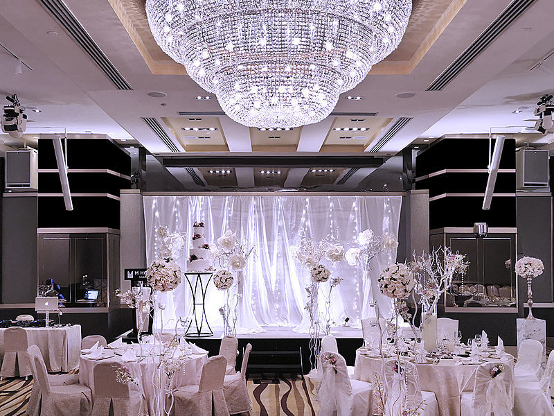 glamorous hotel wedding ballroom with dome chandelier