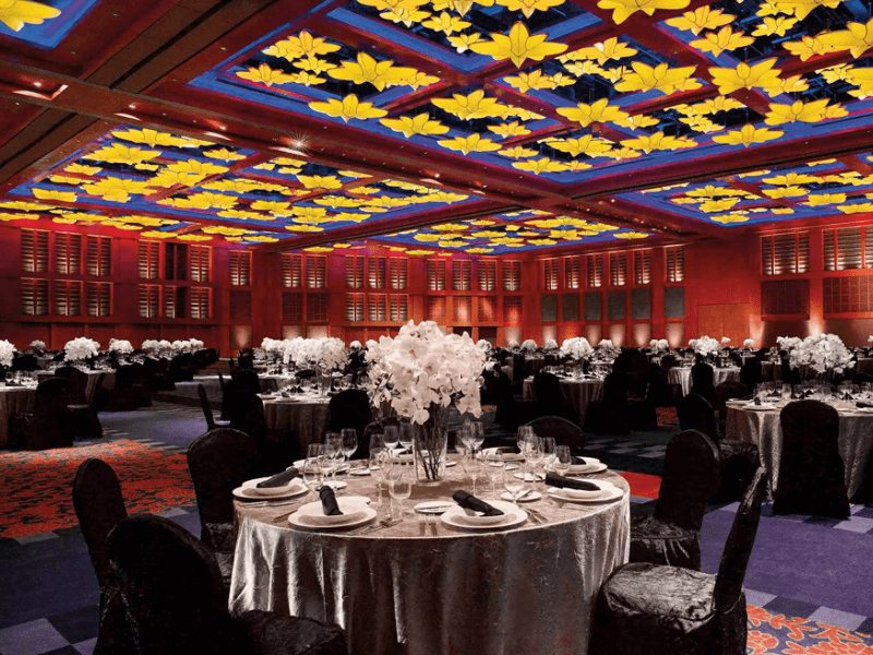 ballroom with table floral arrangements