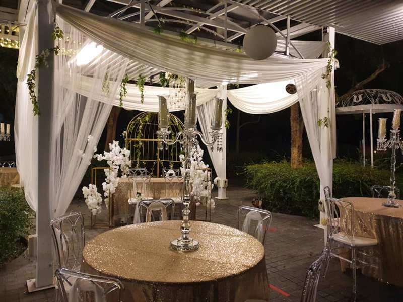 al fresco dining area for wedding solemnisation event