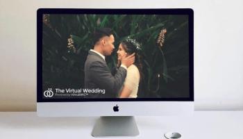 couples wedding on screen