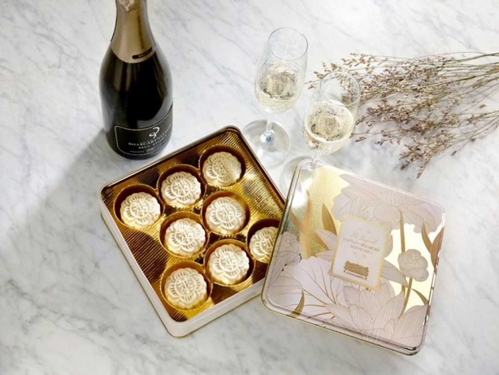 mooncake; champagne bottle