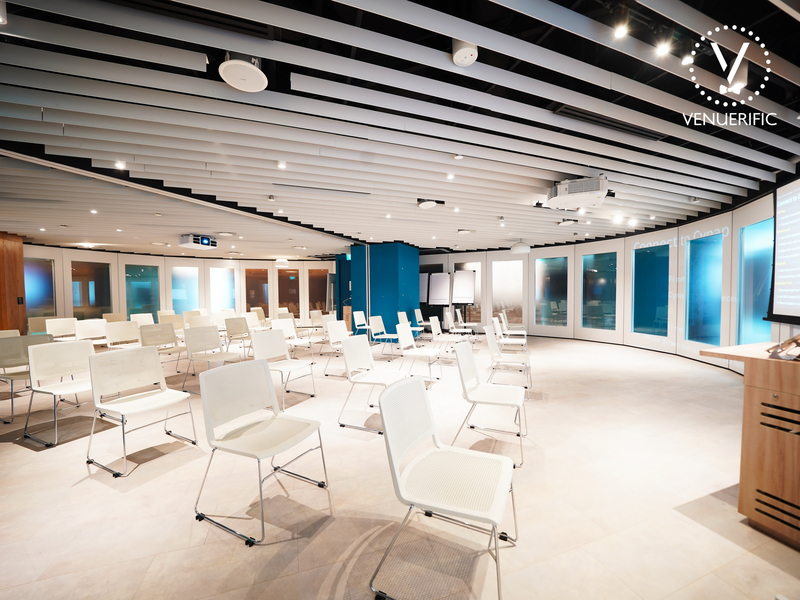 large workshop space in singapore with white colour and round shape