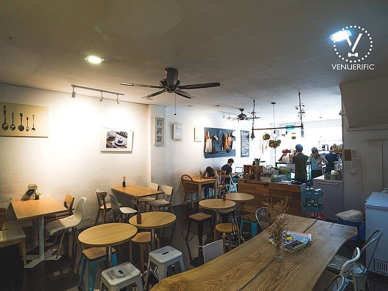 cafe with wooden furnishing