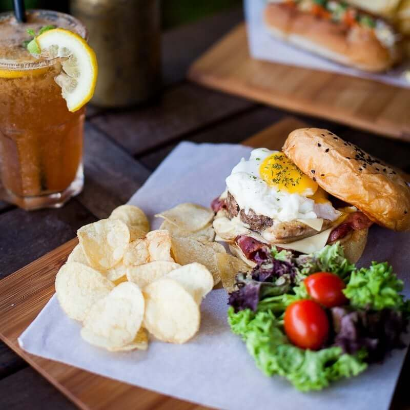 burgers and chips with tea