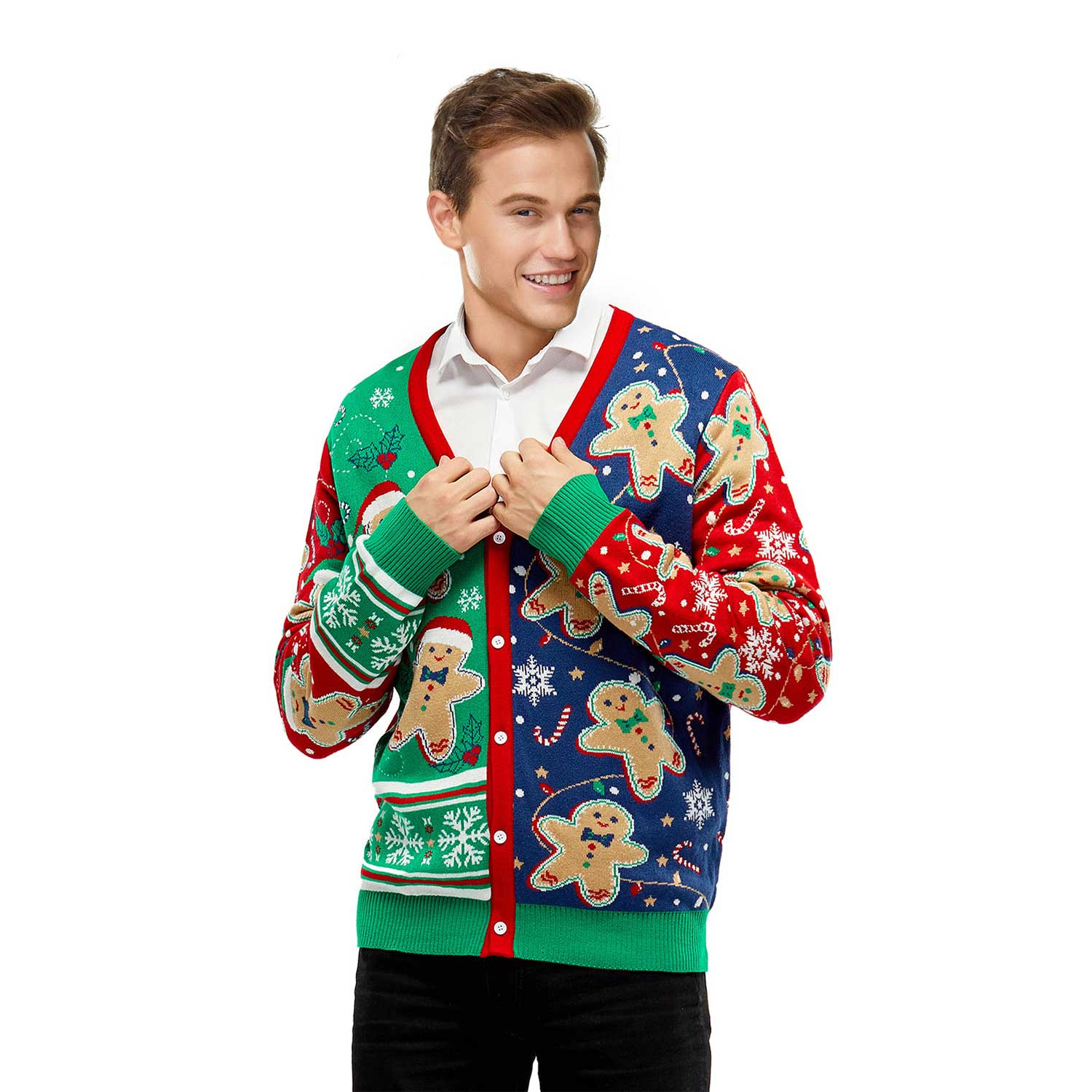 singapore men wearing colourful sweater with cookies patterned