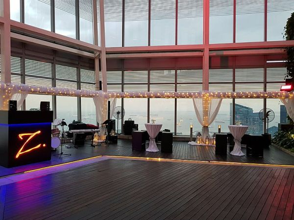 rooftop hall area for dance party or standing party