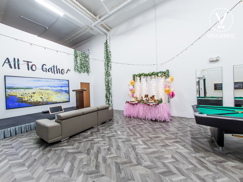 multifunctional event space with birthday setup