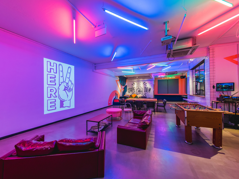instagrammable event space with colourful lighting