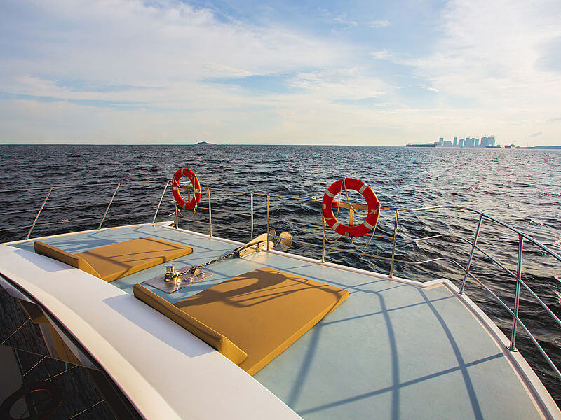 A sun deck of a boat on sea