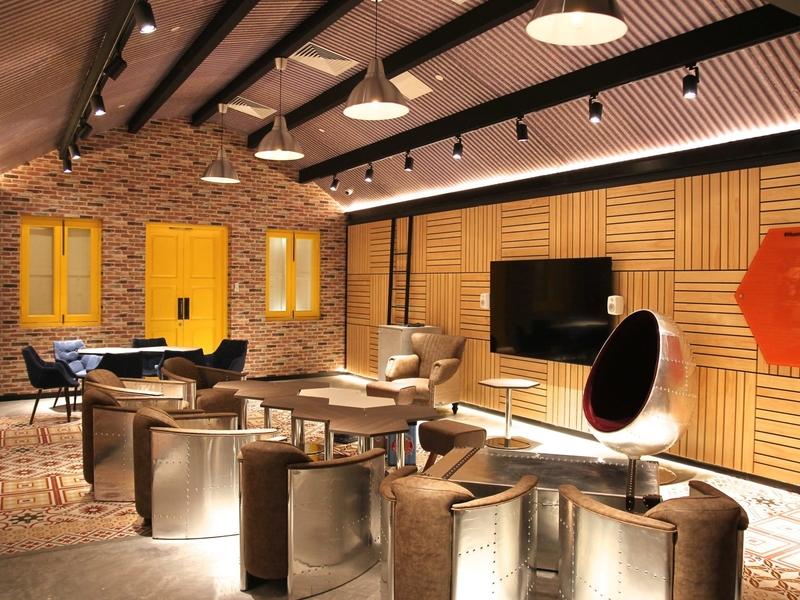 A beautiful futuristic meeting room